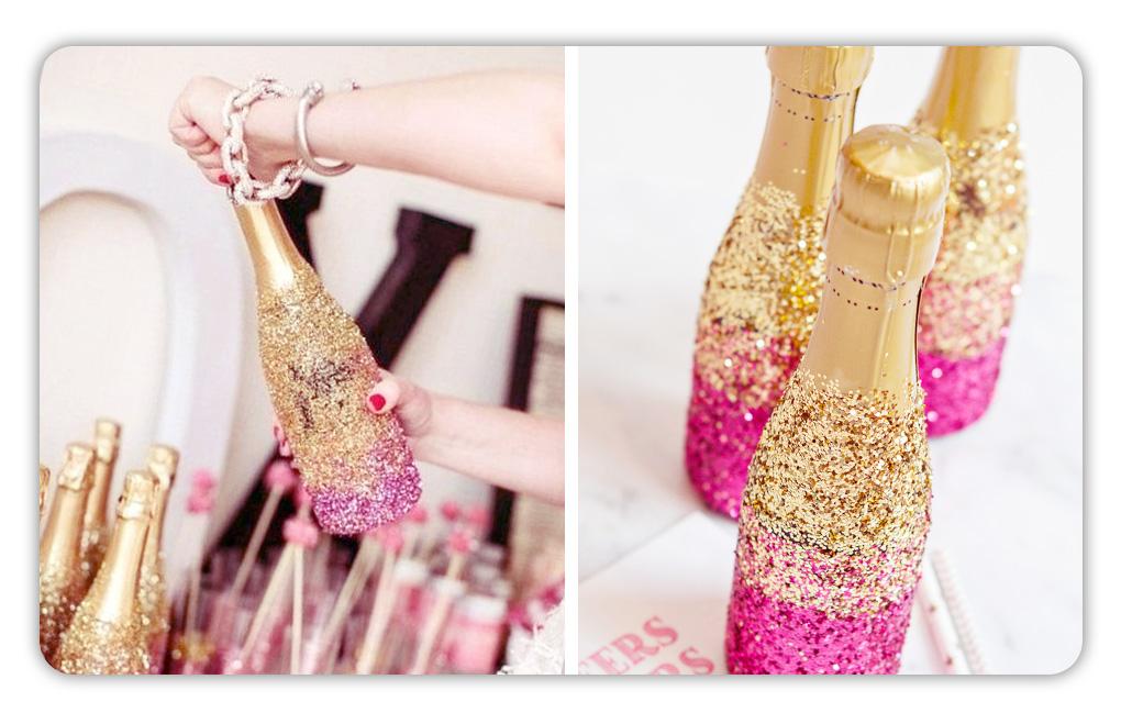 botellas decoradas fiesta quince 15 glitter